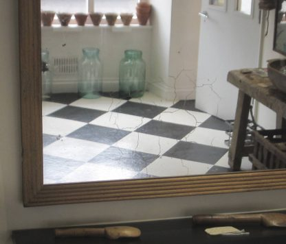 Oak reeded mirror